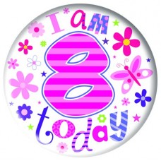 Badge 5cm Happy Birthday Age 8 Girl