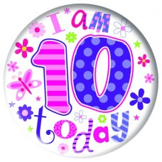 Badge 5cm Happy Birthday Age 10 Girl