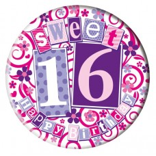 Badge Happy Birthday Age 16 Female 5cm