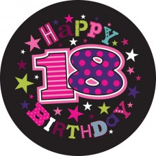 Badge 5cm Happy Birthday Age 18 Female