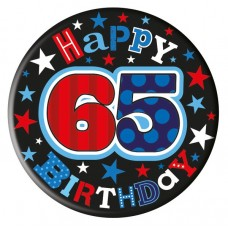 Badge Happy Birthday Age 65 Male 5cm