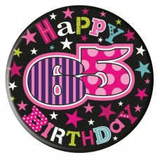 Badge Happy Birthday Age 65 Female 5cm