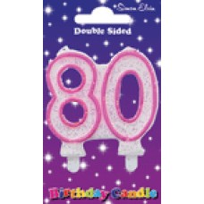 Candle Milestone  - Number 80 Pink