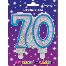 Candle Milestone  - Number 70 Blue