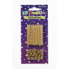 Candle Spiral 18 Gold Glittered