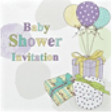 Invitation Baby Shower Foil 6 Pk