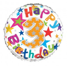Balloon Foil Happy Birthday 3th Unisex