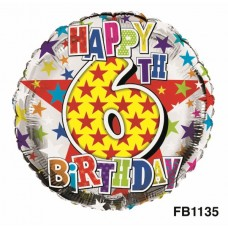 Balloon Foil Happy Birthday 6th Unisex