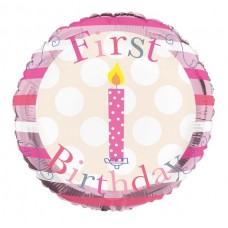 Balloon Foil - Happy 1st Birthday Girl