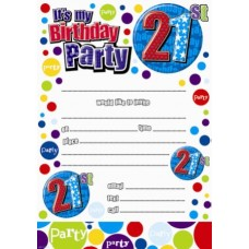 Invitation Birthday 21st 20 Sheets