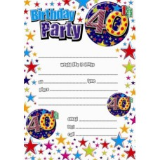 Invitation Birthday 40th 20 Sheets