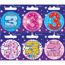 Badge Happy Birthday Age 3 - 6's