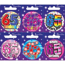 Badge Happy Birthday Age 65 - 6's