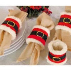 Christmas Napkin Rings Plush with White