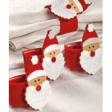 Christmas Napkin Rings Plush with Santa